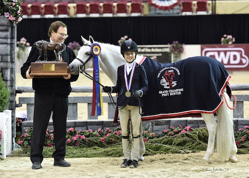 Sophie Gochman and Love Me Tender in their award presentation after winning  2015 Grand Champion Pony Hunter honors. <br><b>Photo by <a href='http://www.shawnmcmillen.com/' target='_blank'>Shawn McMillen Photography</a></b>