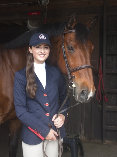 Miriam Dupree of Washington, D.C., newly named Youth Ambassador of the 2015 Washington International Horse Show with her horse, Medrano. <br><b>Photo by Emily Ambach</a></b>