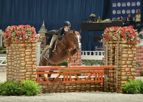 Winner of the 2014 $10,000 WIHS Children's Hunter Championship was Aubrienne Krysiewicz-Bell on Monopoly. <br><b>Photo by <a href='http://www.shawnmcmillen.com/' target='_blank'>Shawn McMillen Photography</a></b>