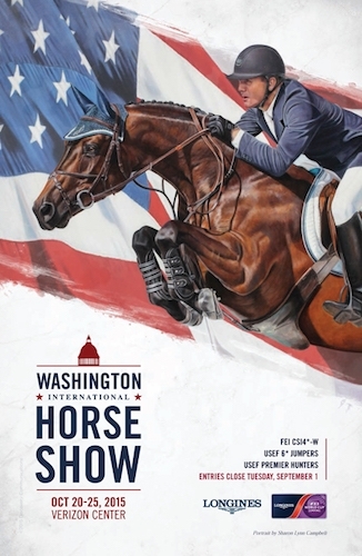 Cover portrait of McLain Ward and Double H Farm's HH Carlos Z, winners of the 2014 President's Cup Grand Prix, by 2015 WIHS Official Artist, Sharon Lynn Campbell.