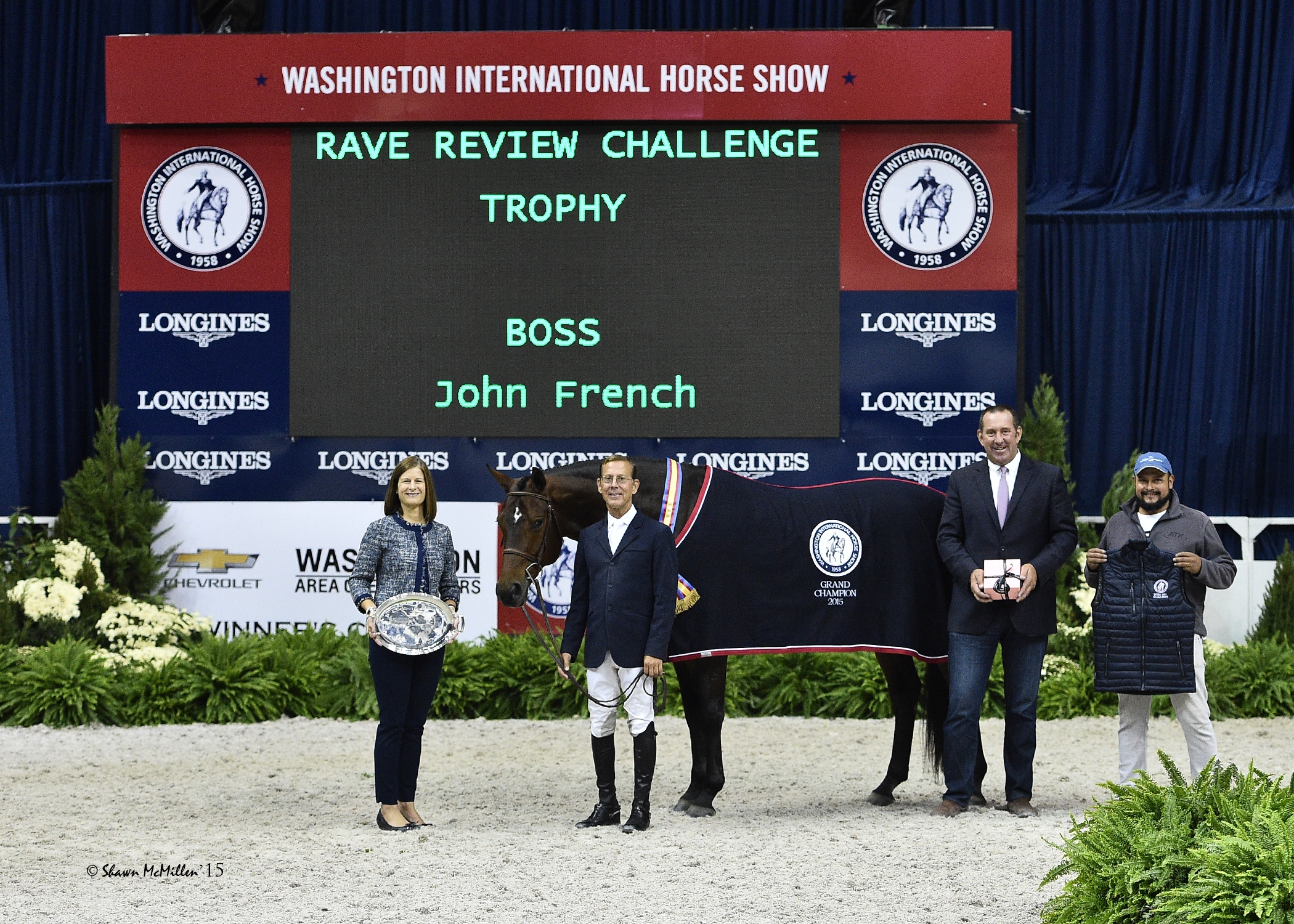 John French and Boss in their presentation for Grand Champion Hunter with WIHS Executive Director Bridget Love Meehan, Archie Cox, and groom Alex Garcia. <br><b>Photo by <a href='http://www.shawnmcmillen.com/' target='_blank'>Shawn McMillen Photography</a></b>