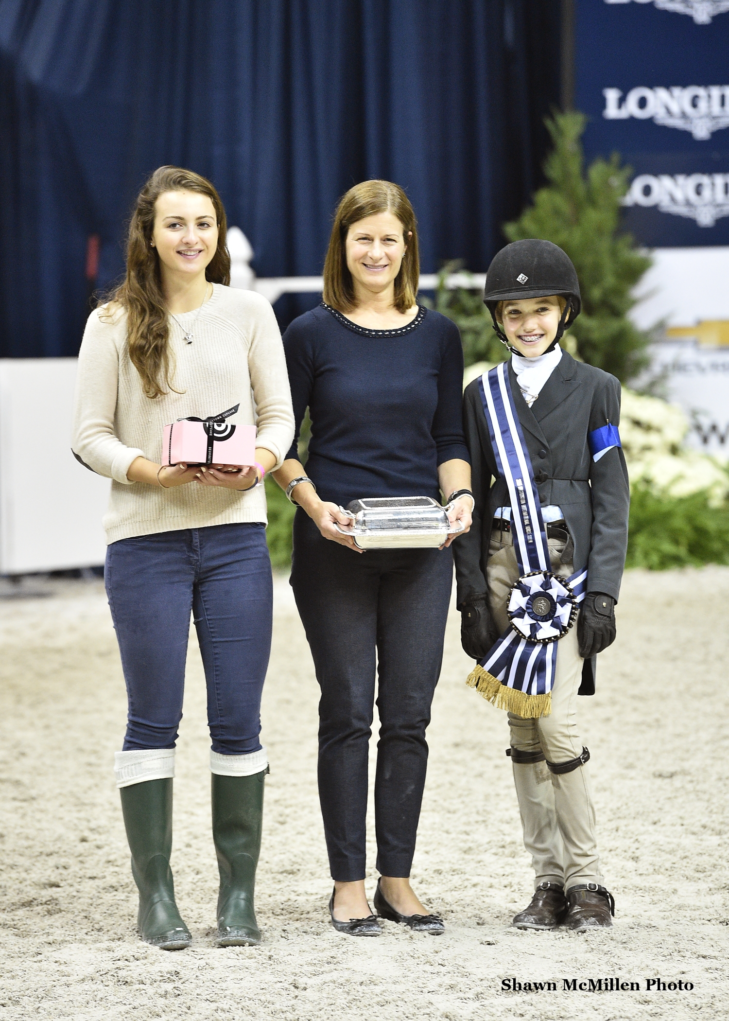 Farah Rizvi accepts the award for Best Child Rider on a Pony with WIHS Youth Ambassador Miriam Dupree and WIHS Executive Director Bridget Love Meehan. <br><b>Photo by <a href='http://www.shawnmcmillen.com/' target='_blank'>Shawn McMillen Photography</a></b>