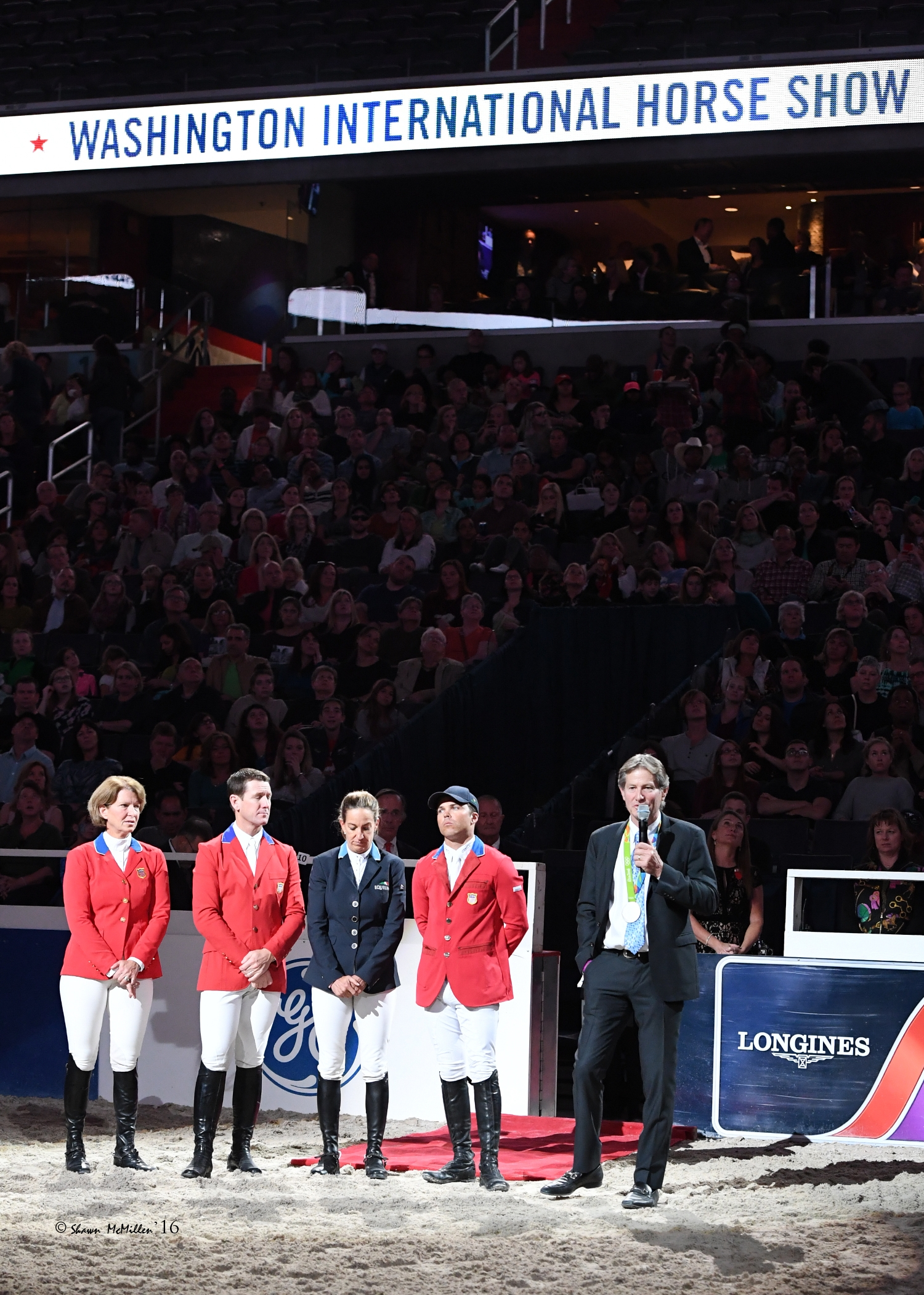 The U.S. Show Jumping Olympic Silver Medalists were honored in a special ceremony on Saturday night, including Beezie Madden, McLain Ward, Laura Kraut, Kent Farrington, and Chef d'Equipe Robert Ridland. <br><b>Photo by <a href='http://www.shawnmcmillen.com/' target='_blank'>Shawn McMillen Photography</a></b>