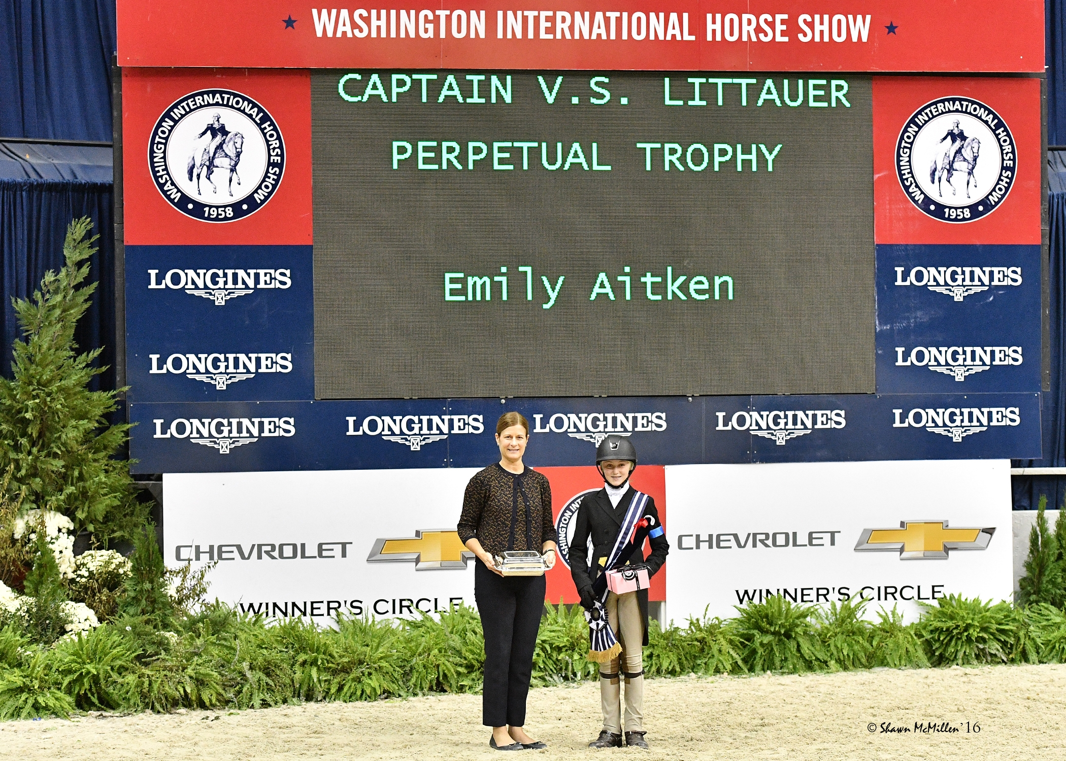 Emily Aitken in her presentation for Best Child Rider on a Pony with WIHS Executive Director Bridget Love Meehan. <br><b>Photo by <a href='http://www.shawnmcmillen.com/' target='_blank'>Shawn McMillen Photography</a></b>
