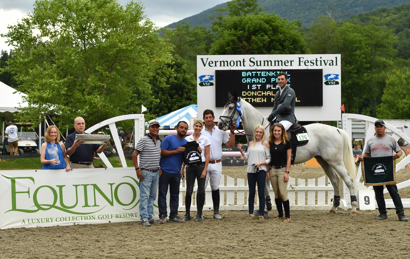 Matthew Metell and Donchalant were presented as the winners of the $30,000 Battenkill Grand Prix by Caitlin Darnall (far left) and Rodger Aberth (second from left) representing The Equinox Resort, along with members of the Wolver Hollow team at the Vermont Summer Festival on Saturday, July 15.<br><b>Photo by <a href='http://www.andrewryback.com/' target='_blank'>Andrew Ryback Photography</a></b>