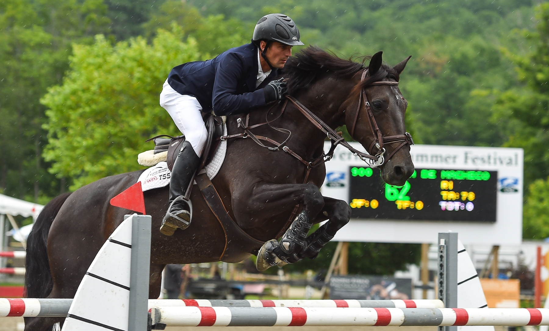 Sam Pegg of Uxbridge, ON, riding Shaia de Macheco to a victory in the $10,000 New Balance Welcome Stake, presented by Manchester Designer Outlets, while competing at the 2017 Vermont Summer Festival in East Dorset, VT.<br><b>Photo by <a href='http://www.andrewryback.com/' target='_blank'>Andrew Ryback Photography</a></b>