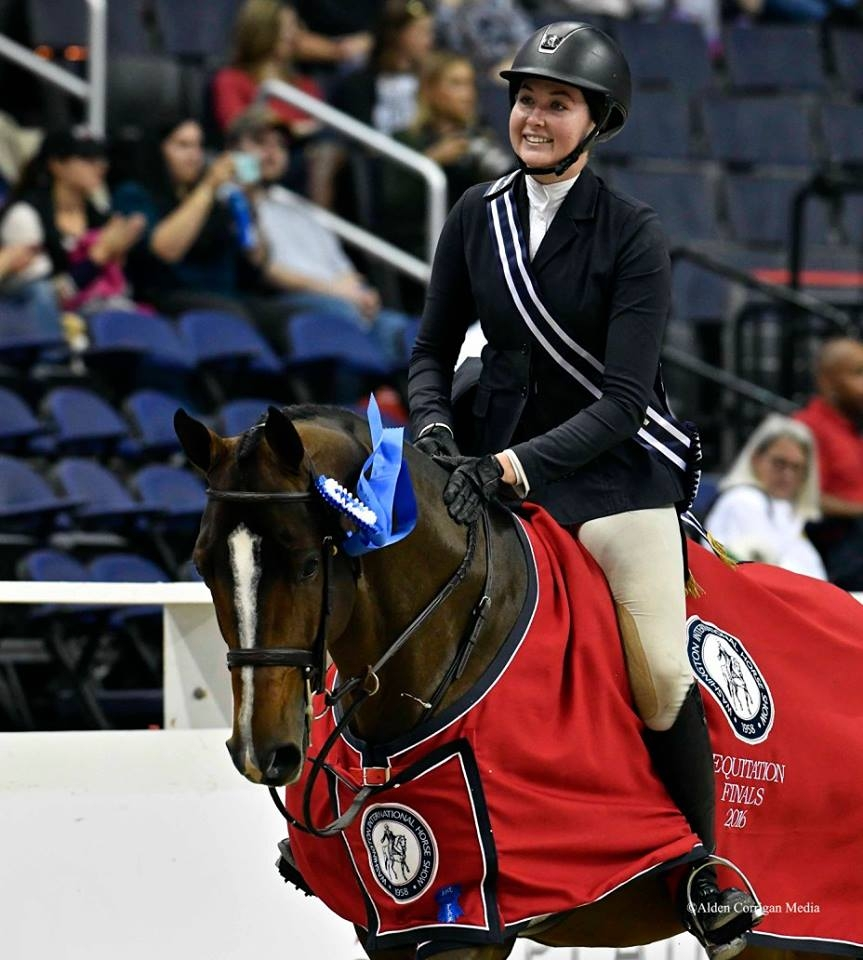 2016 WIHS Equitation champion Hunter Holloway is all smiles during her victory gallop. <br><b>Photo by Alden Corrigan</a></b>