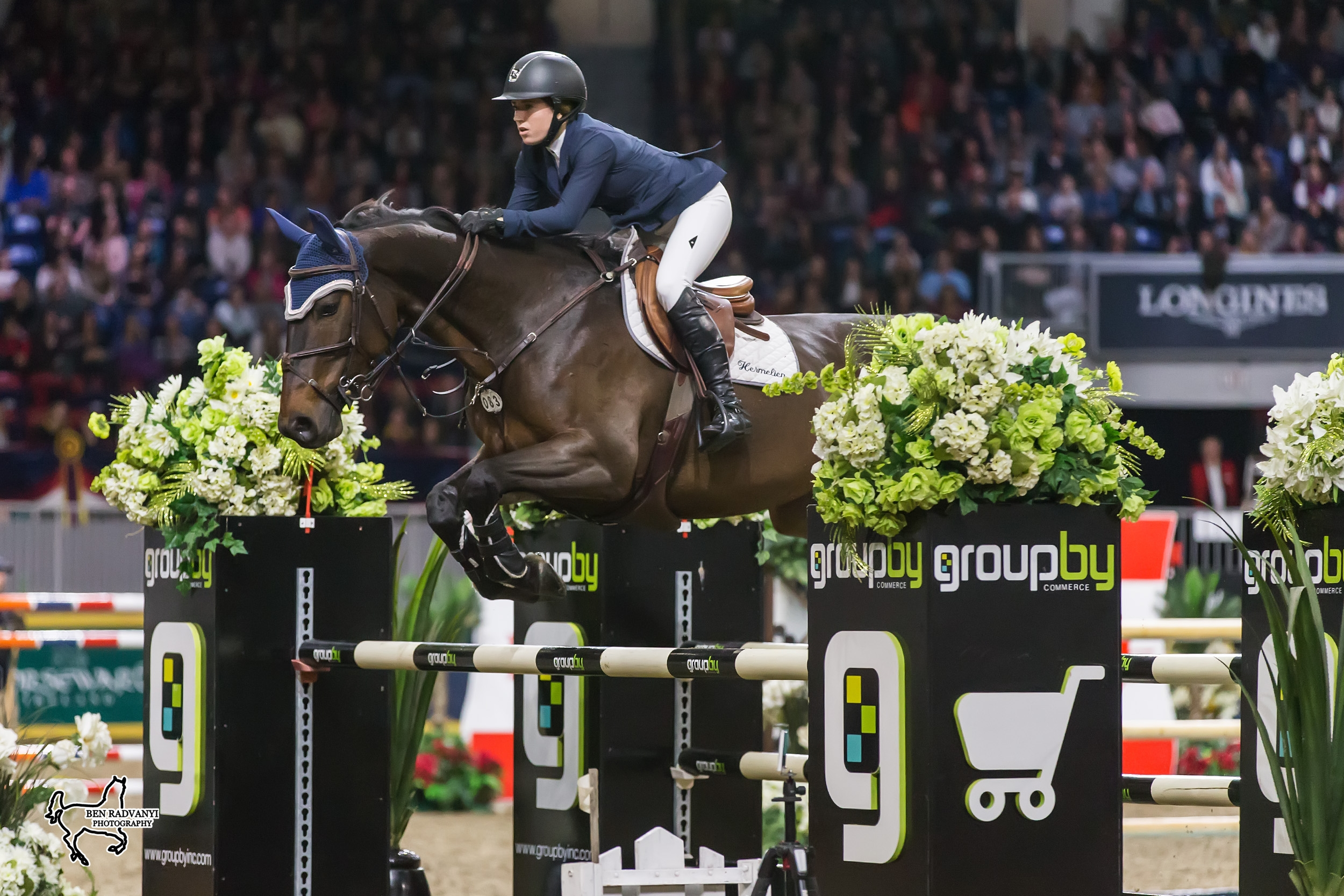 Ali Ramsay of Victoria, BC, was third in the 2017 Canadian Show Jumping Championship riding Hermelien VD Hooghoeve on Saturday, November 4, at the Royal Horse Show in Toronto, ON.<br><b>Photo by <a href='http://benradvanyi.photoshelter.com'target='_blank'>Ben Radvanyi Photography</a></b>