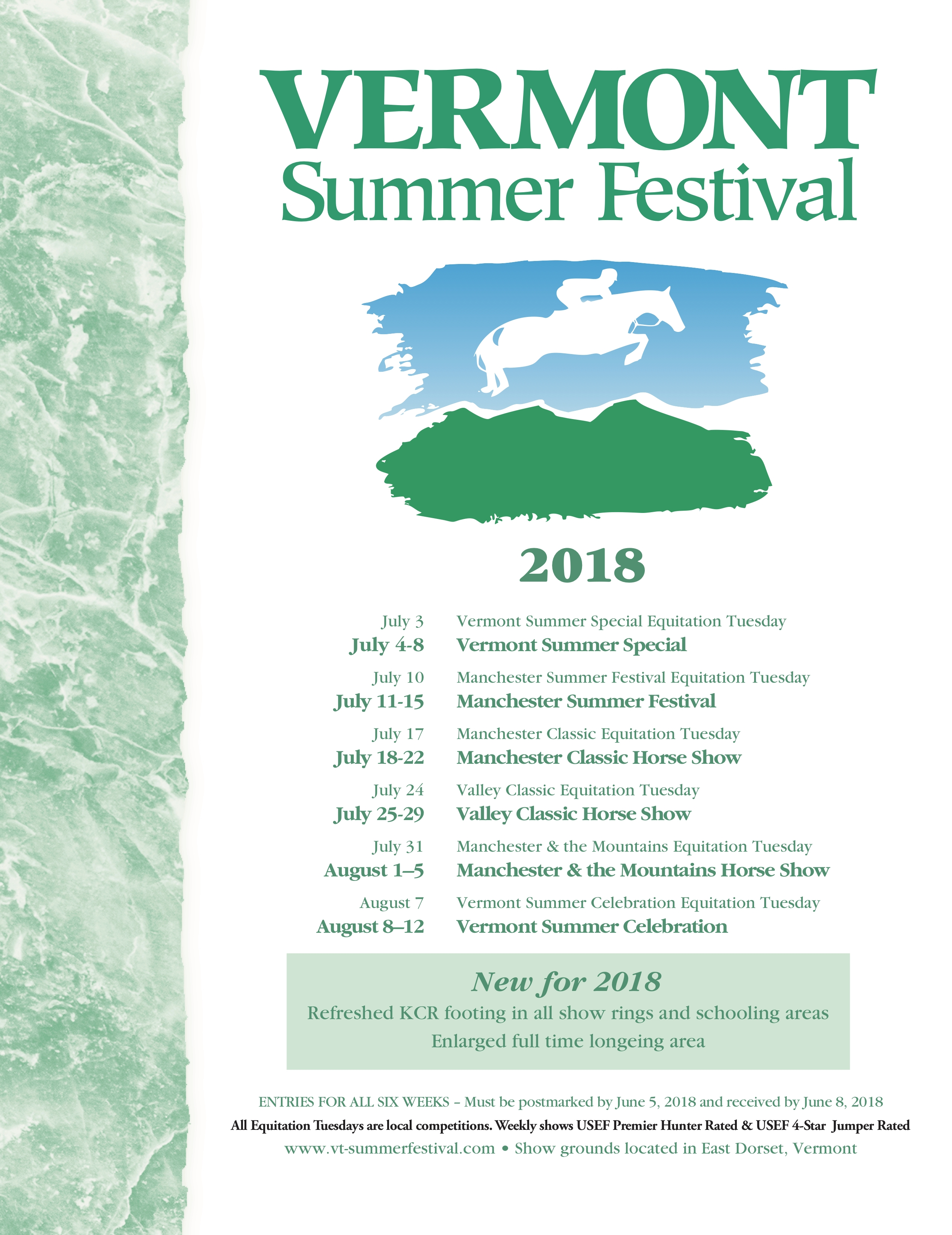 The prize list for the Vermont Summer Festival's 25th anniversary season is now available with entries due on June 5.<b><a href='https://www.vt-summerfestival.com/prize.php'target='_blank'>Click to view prize list.</a></b>