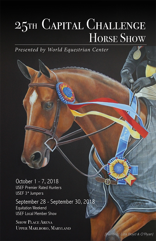 The 2018 Capital Challenge Horse Show prize list, featuring cover artwork of Liza Boyd and O'Ryan by artist Sharon Lynn Campbell.