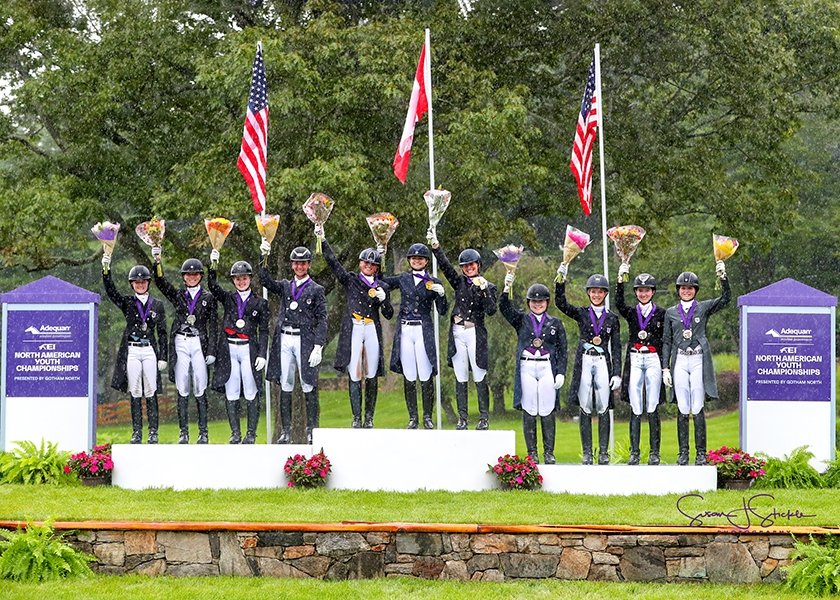 United States Dressage Federation (USDF) North American Young Rider Dressage Team Championship medalists.<br><b>Photo by <a href='https://www.suestickle.com/' target='_blank'>SueStickle.com</a></b>