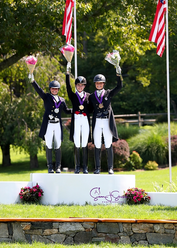 Young Rider Freestyle medalists Beatrice Boucher (silve), Anna Weniger (gold), and Callie Jones (bronze). <br><b>Photo by <a href='https://www.suestickle.com/' target='_blank'>SueStickle.com</a></b>