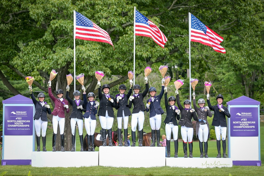 USDF North American Junior Rider Dressage Team Championship podium finishers, Region 4 in with gold, Region 2 with silver, and Region 9 with bronze. <br><b>Photo by <a href='https://www.meg-mcguire.com/' target='_blank'>Meg McGuire</a></b>