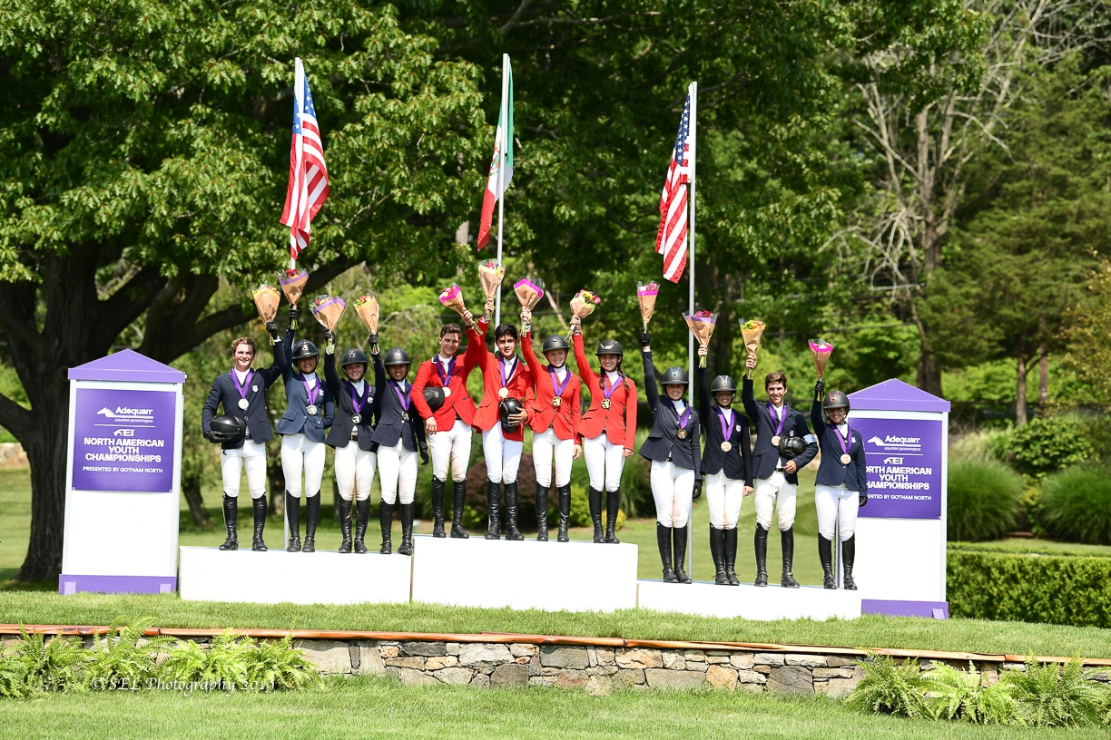 USHJA North American Children's Rider Team Championship podium. <br><b>Photo by <a href='https://www.selphotography.com/' target='_blank'>SEL Photography</a></b>