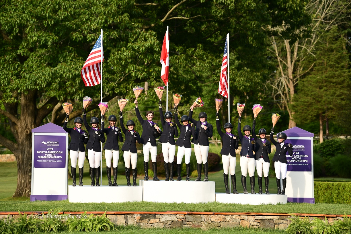 USHJA North American Junior Rider Team Championship podium. <br><b>Photo by <a href='https://www.selphotography.com/' target='_blank'>SEL Photography</a></b>